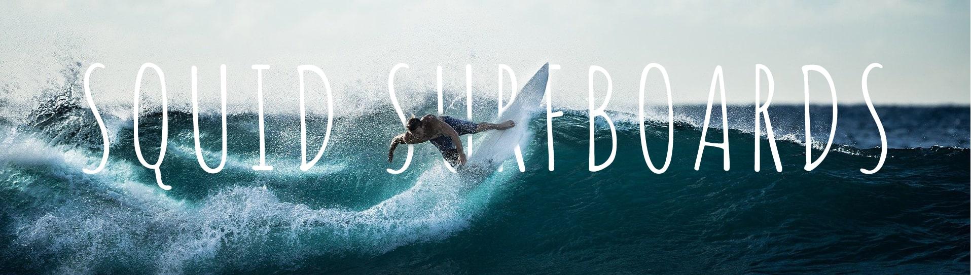 surfeur vague Squid Surfboards